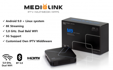 Medialink M9 Ultra 8K Streamer Linux + Android 9.0 + Multimedia